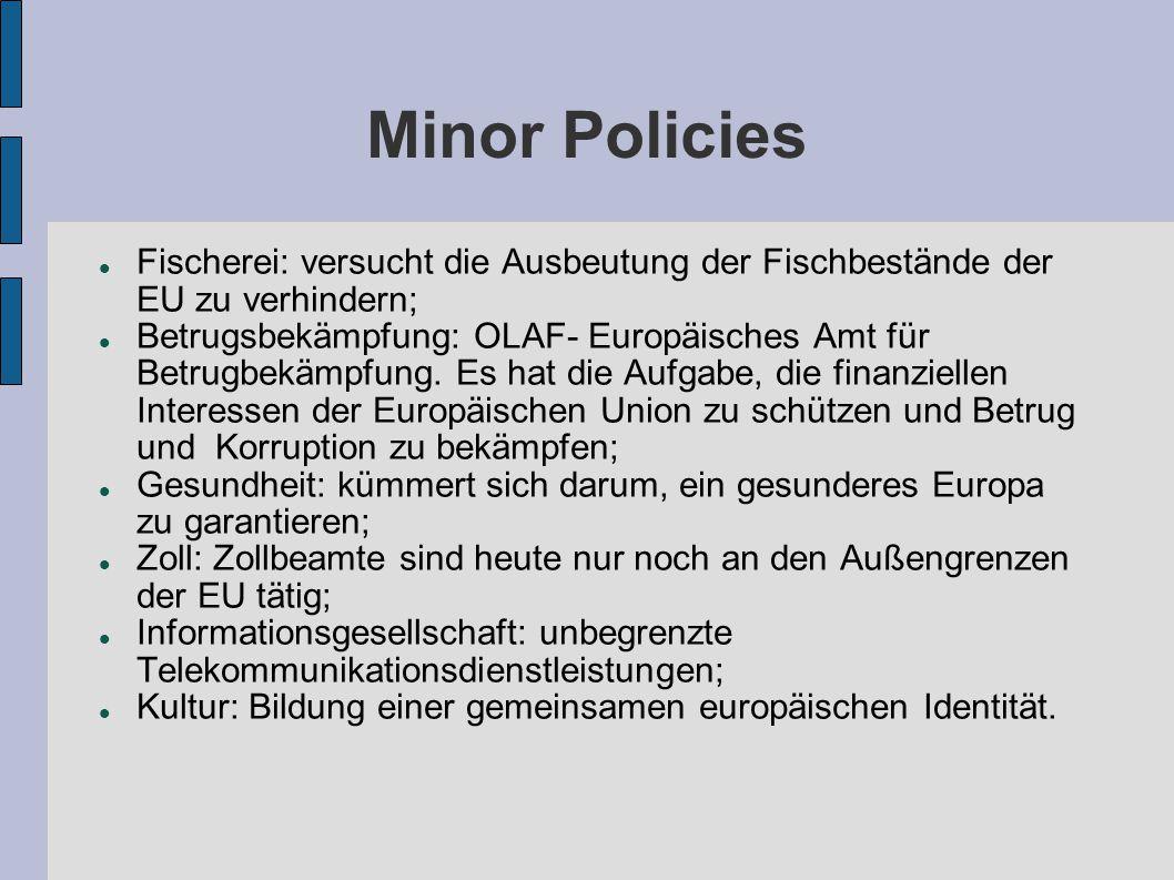 Minor Policies Fischerei: versucht die Ausbeutung der Fischbestände der EU zu verhindern; Betrugsbekämpfung: OLAF- Europäisches Amt für Betrugbekämpfung.