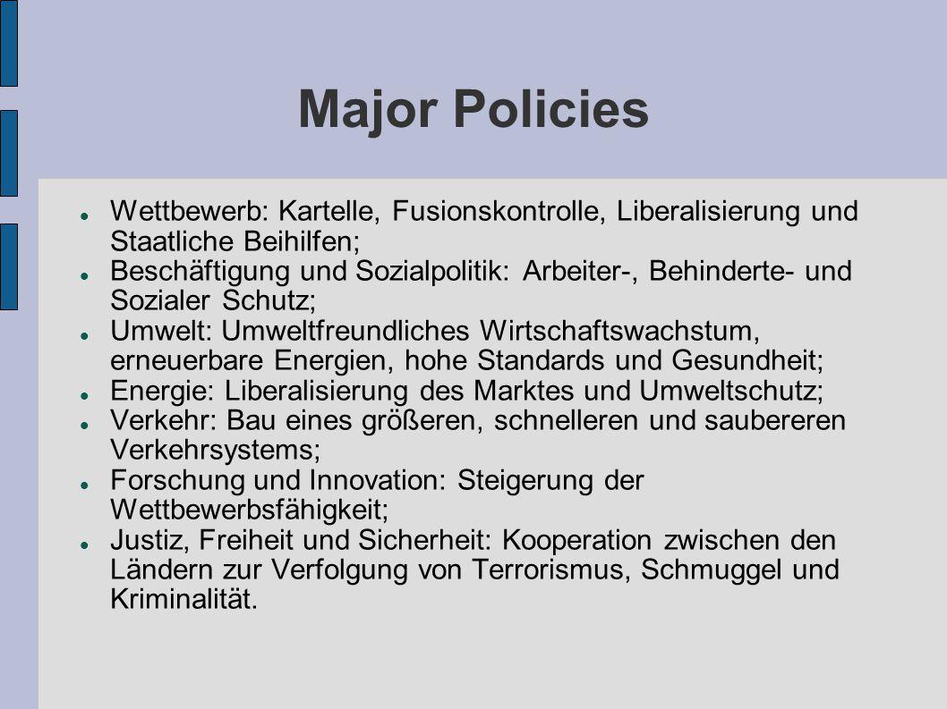 Major Policies Wettbewerb: Kartelle, Fusionskontrolle, Liberalisierung und Staatliche Beihilfen; Beschäftigung und Sozialpolitik: Arbeiter-, Behindert