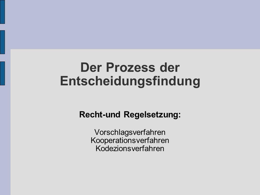 Der Prozess der Entscheidungsfindung Recht-und Regelsetzung: Vorschlagsverfahren Kooperationsverfahren Kodezionsverfahren