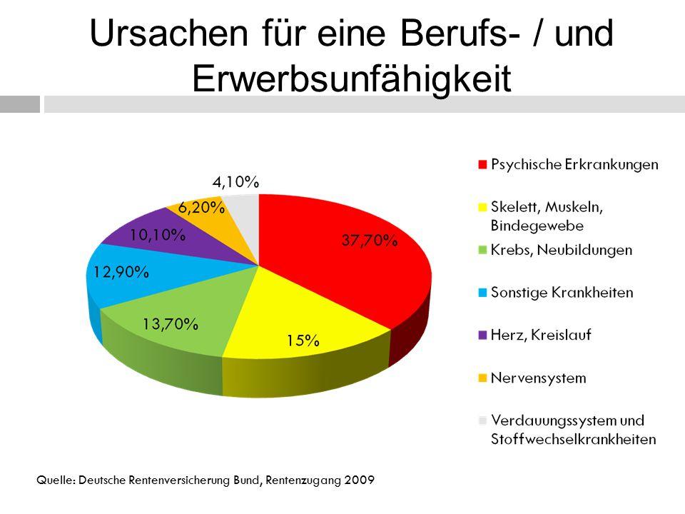 Ursachen für eine Berufs- / und Erwerbsunfähigkeit Quelle: Deutsche Rentenversicherung Bund, Rentenzugang 2009
