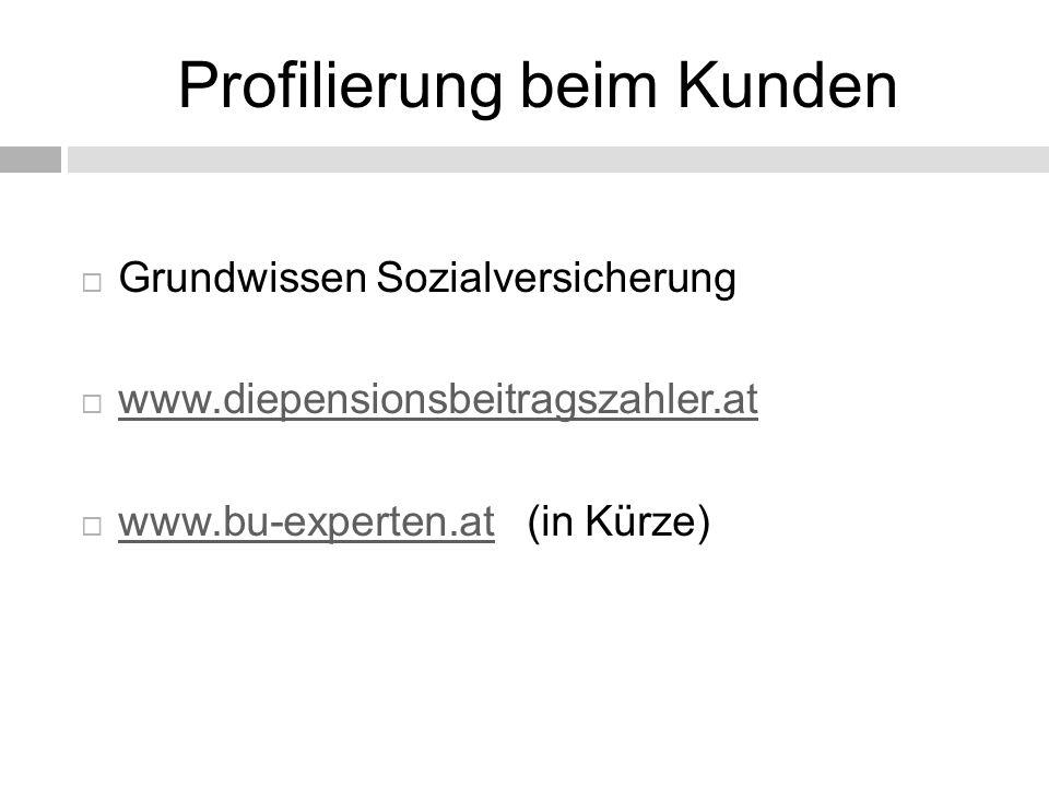 Profilierung beim Kunden  Grundwissen Sozialversicherung  www.diepensionsbeitragszahler.at www.diepensionsbeitragszahler.at  www.bu-experten.at (in Kürze) www.bu-experten.at