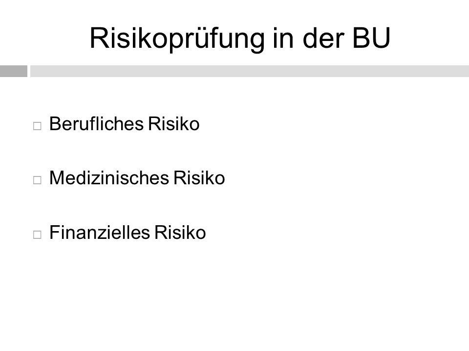 Risikoprüfung in der BU  Berufliches Risiko  Medizinisches Risiko  Finanzielles Risiko