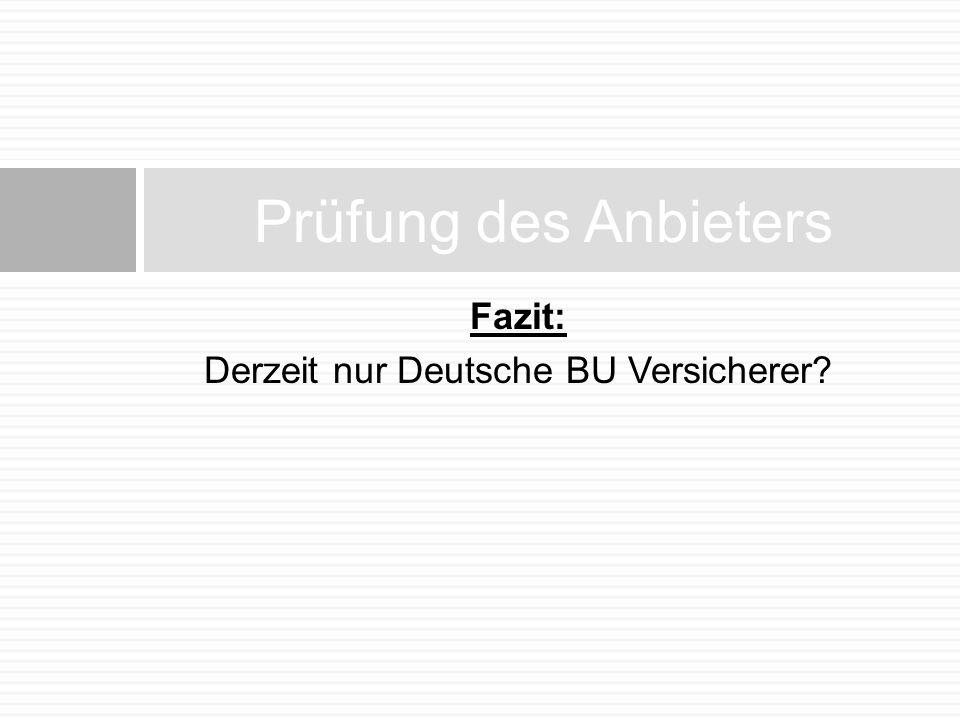 Fazit: Derzeit nur Deutsche BU Versicherer? Prüfung des Anbieters