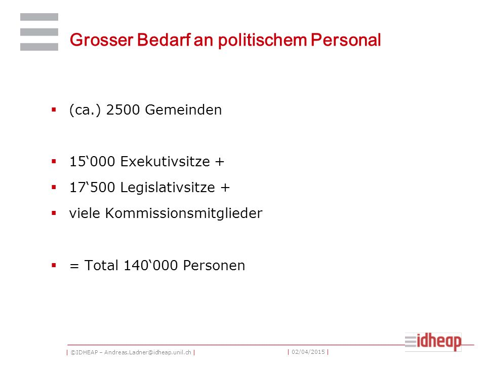 | ©IDHEAP – Andreas.Ladner@idheap.unil.ch | | 02/04/2015 | Grosser Bedarf an politischem Personal  (ca.) 2500 Gemeinden  15'000 Exekutivsitze +  17'500 Legislativsitze +  viele Kommissionsmitglieder  = Total 140'000 Personen