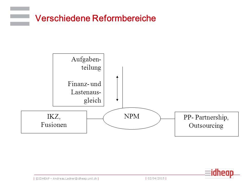 | ©IDHEAP – Andreas.Ladner@idheap.unil.ch | | 02/04/2015 | Verschiedene Reformbereiche NPM PP- Partnership, Outsourcing IKZ, Fusionen Aufgaben- teilung Finanz- und Lastenaus- gleich