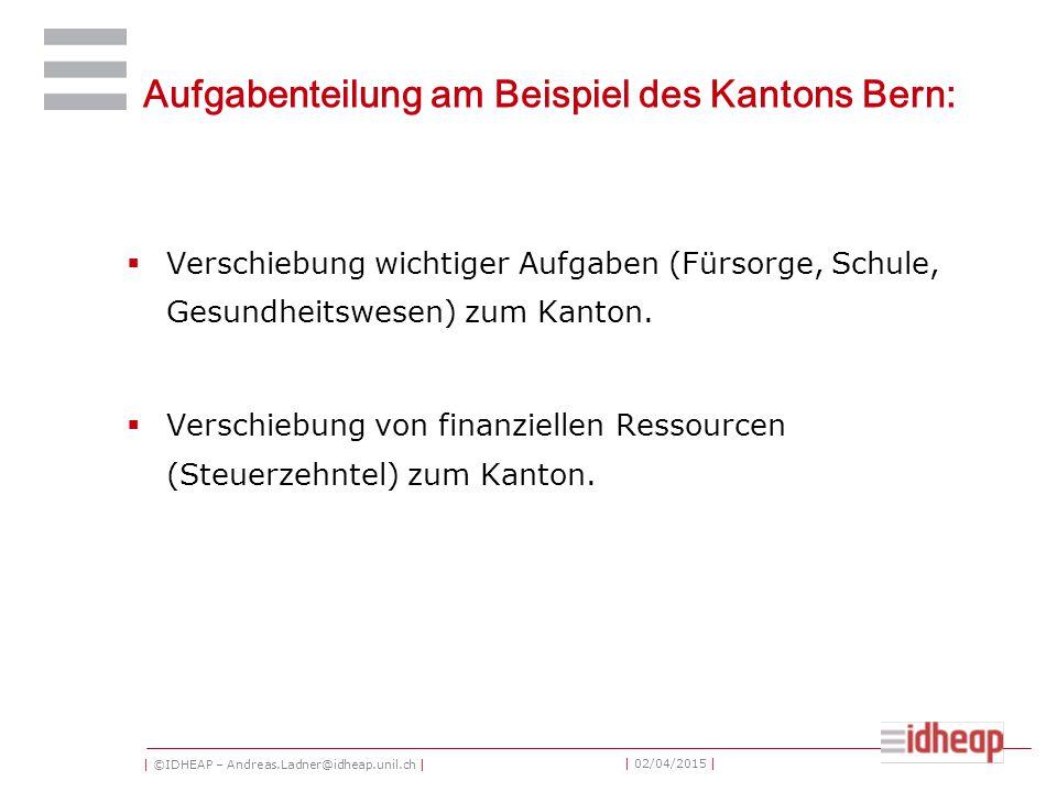 | ©IDHEAP – Andreas.Ladner@idheap.unil.ch | | 02/04/2015 | Aufgabenteilung am Beispiel des Kantons Bern:  Verschiebung wichtiger Aufgaben (Fürsorge,