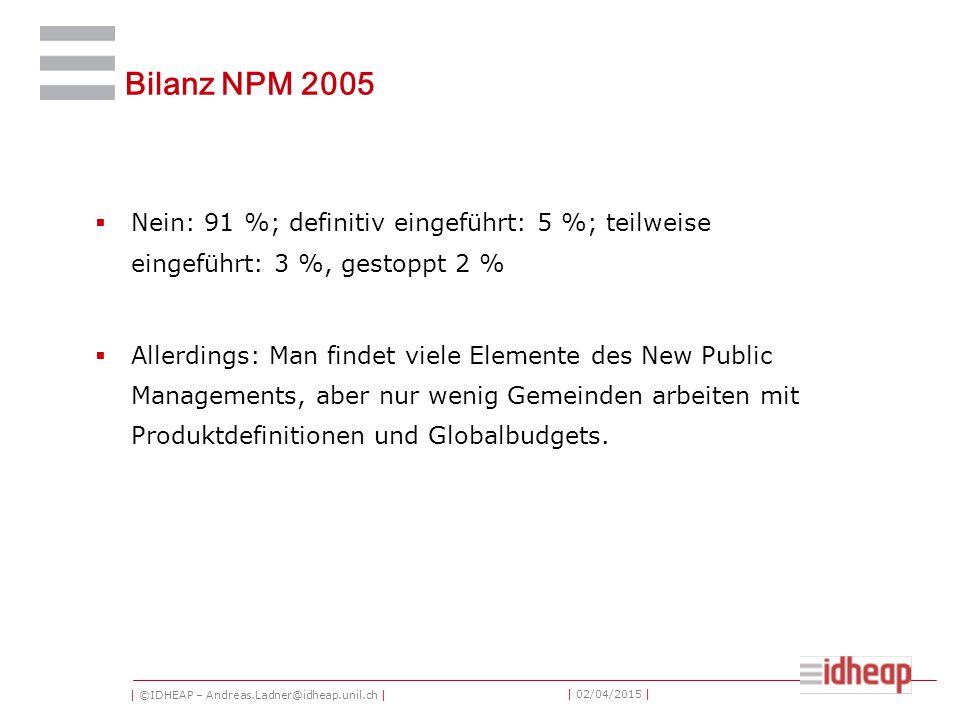 | ©IDHEAP – Andreas.Ladner@idheap.unil.ch | | 02/04/2015 | Bilanz NPM 2005  Nein: 91 %; definitiv eingeführt: 5 %; teilweise eingeführt: 3 %, gestopp