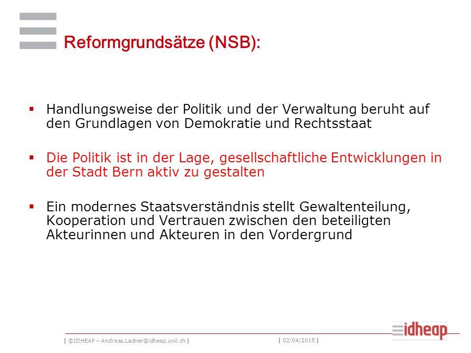 | ©IDHEAP – Andreas.Ladner@idheap.unil.ch | | 02/04/2015 | Reformgrundsätze (NSB):  Handlungsweise der Politik und der Verwaltung beruht auf den Grun