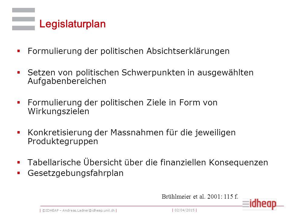 | ©IDHEAP – Andreas.Ladner@idheap.unil.ch | | 02/04/2015 | Legislaturplan  Formulierung der politischen Absichtserklärungen  Setzen von politischen