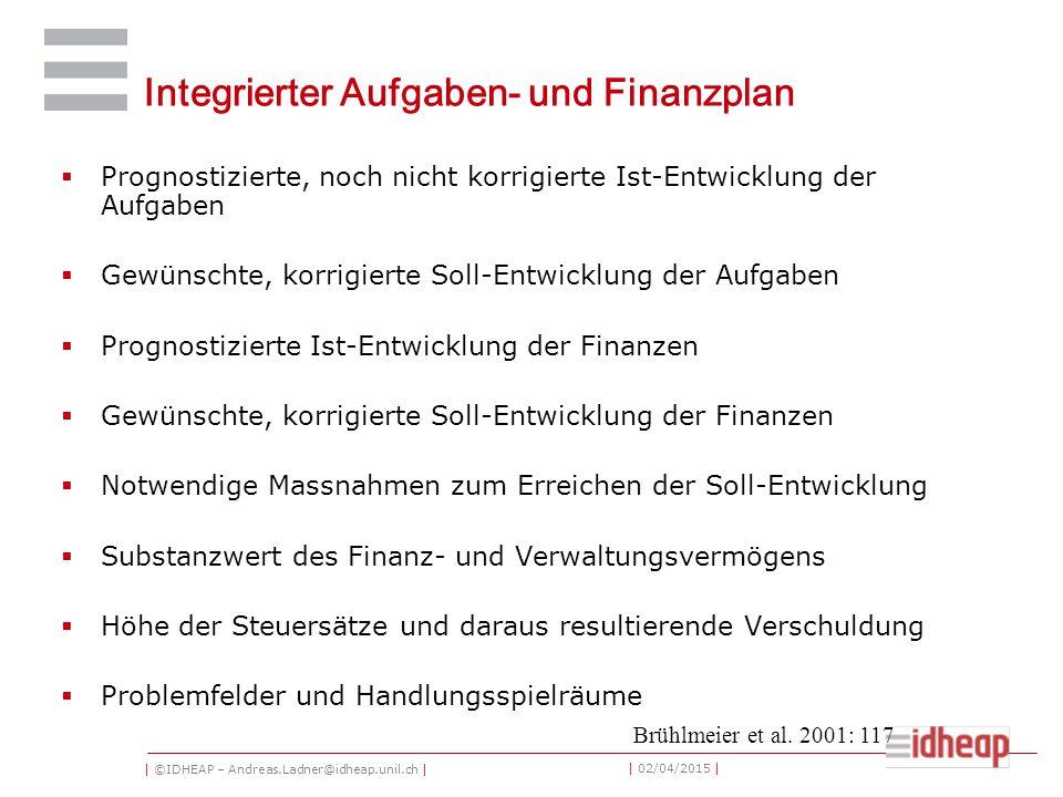 | ©IDHEAP – Andreas.Ladner@idheap.unil.ch | | 02/04/2015 | Integrierter Aufgaben- und Finanzplan  Prognostizierte, noch nicht korrigierte Ist-Entwick