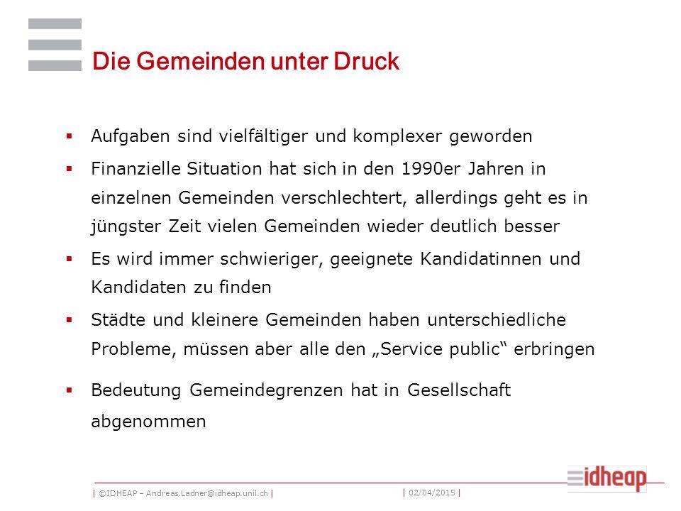 | ©IDHEAP – Andreas.Ladner@idheap.unil.ch | | 02/04/2015 | Die Gemeinden unter Druck  Aufgaben sind vielfältiger und komplexer geworden  Finanzielle