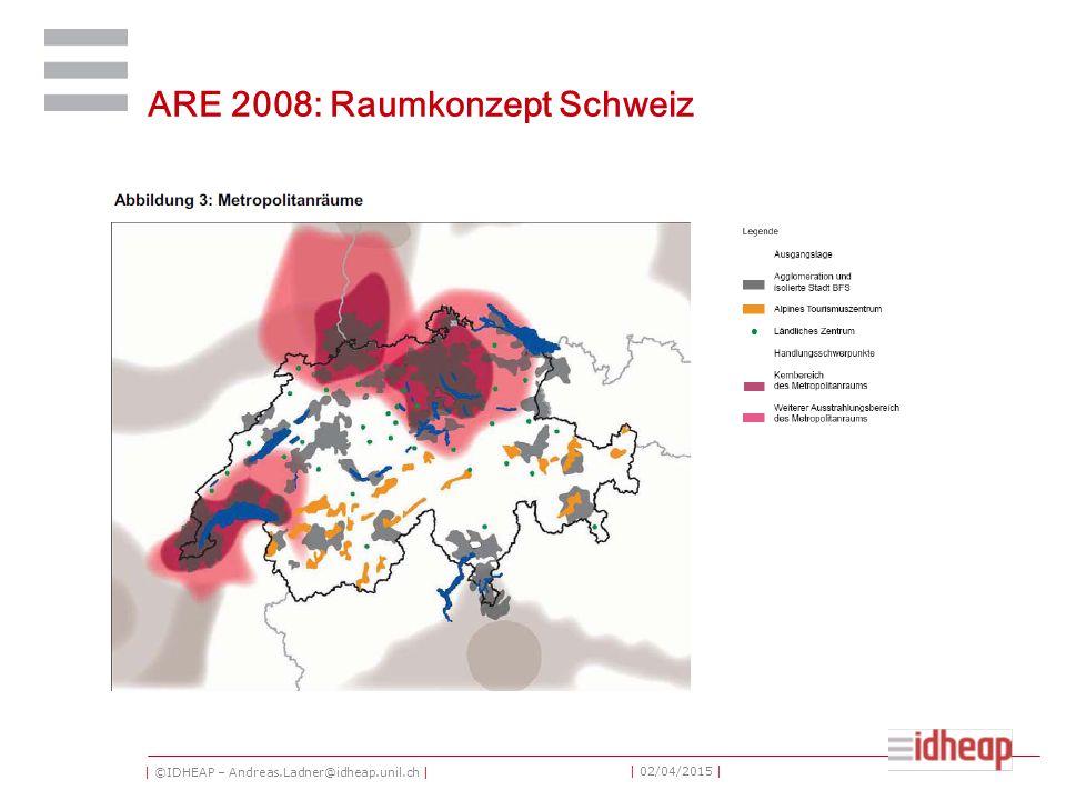 | ©IDHEAP – Andreas.Ladner@idheap.unil.ch | | 02/04/2015 | ARE 2008: Raumkonzept Schweiz
