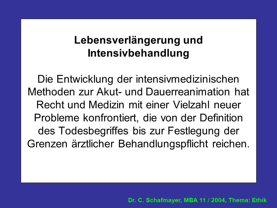 Dr. C. Schafmayer, MBA 11 / 2004, Thema: Ethik Lebensverlängerung und Intensivbehandlung Die Entwicklung der intensivmedizinischen Methoden zur Akut-