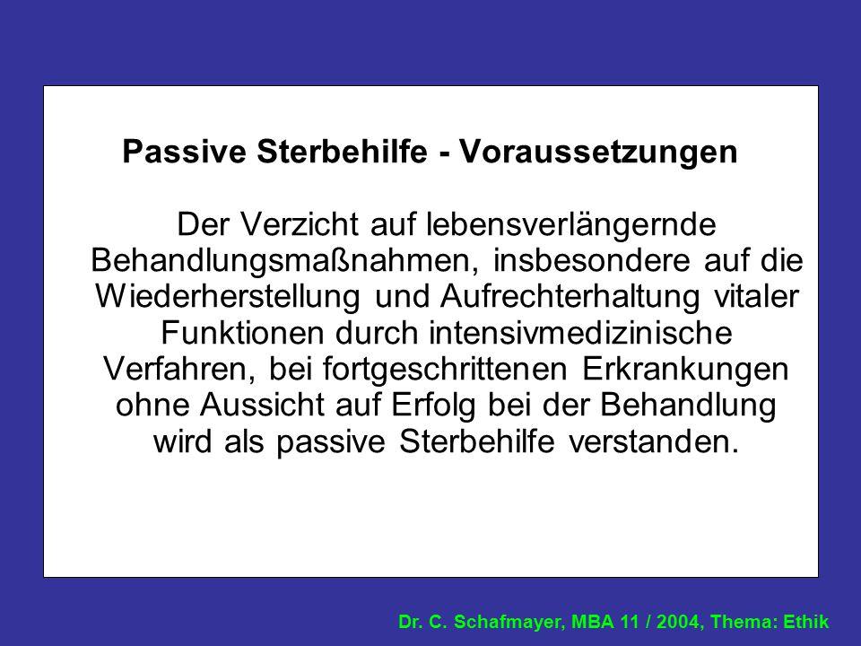 Dr. C. Schafmayer, MBA 11 / 2004, Thema: Ethik Passive Sterbehilfe - Voraussetzungen Der Verzicht auf lebensverlängernde Behandlungsmaßnahmen, insbeso