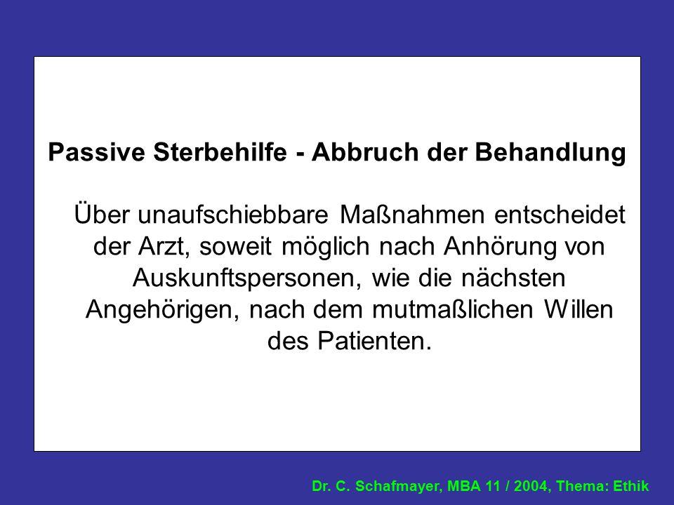 Dr. C. Schafmayer, MBA 11 / 2004, Thema: Ethik Passive Sterbehilfe - Abbruch der Behandlung Über unaufschiebbare Maßnahmen entscheidet der Arzt, sowei