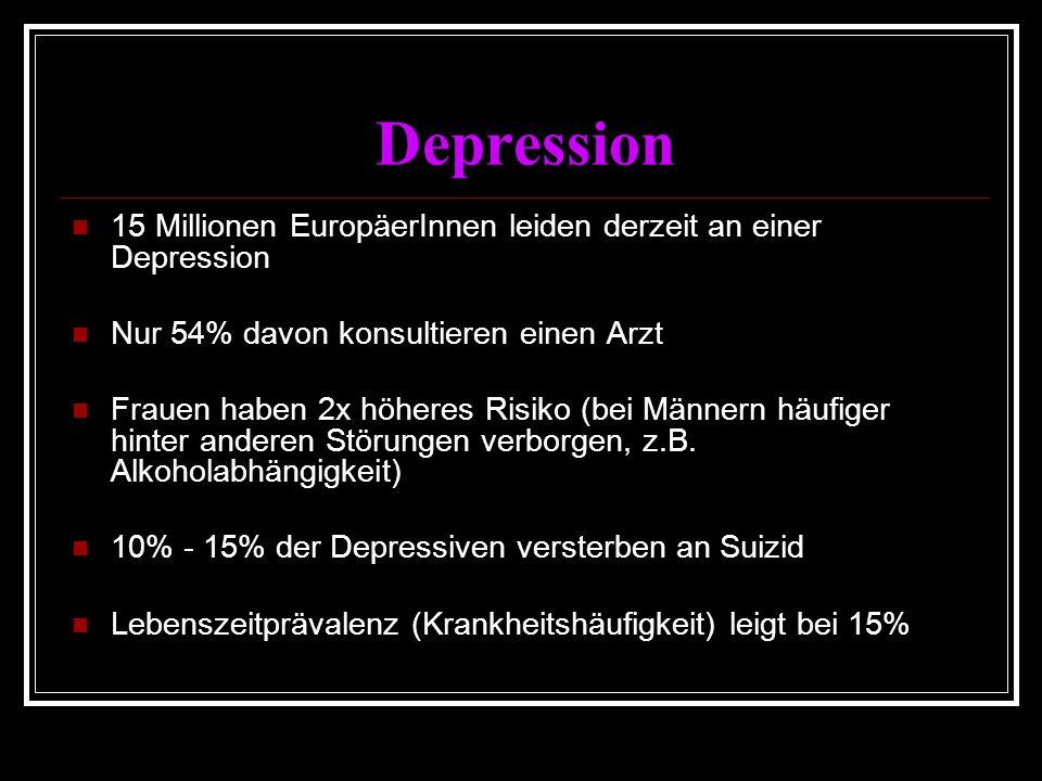 Depression 15 Millionen EuropäerInnen leiden derzeit an einer Depression Nur 54% davon konsultieren einen Arzt Frauen haben 2x höheres Risiko (bei Männern häufiger hinter anderen Störungen verborgen, z.B.