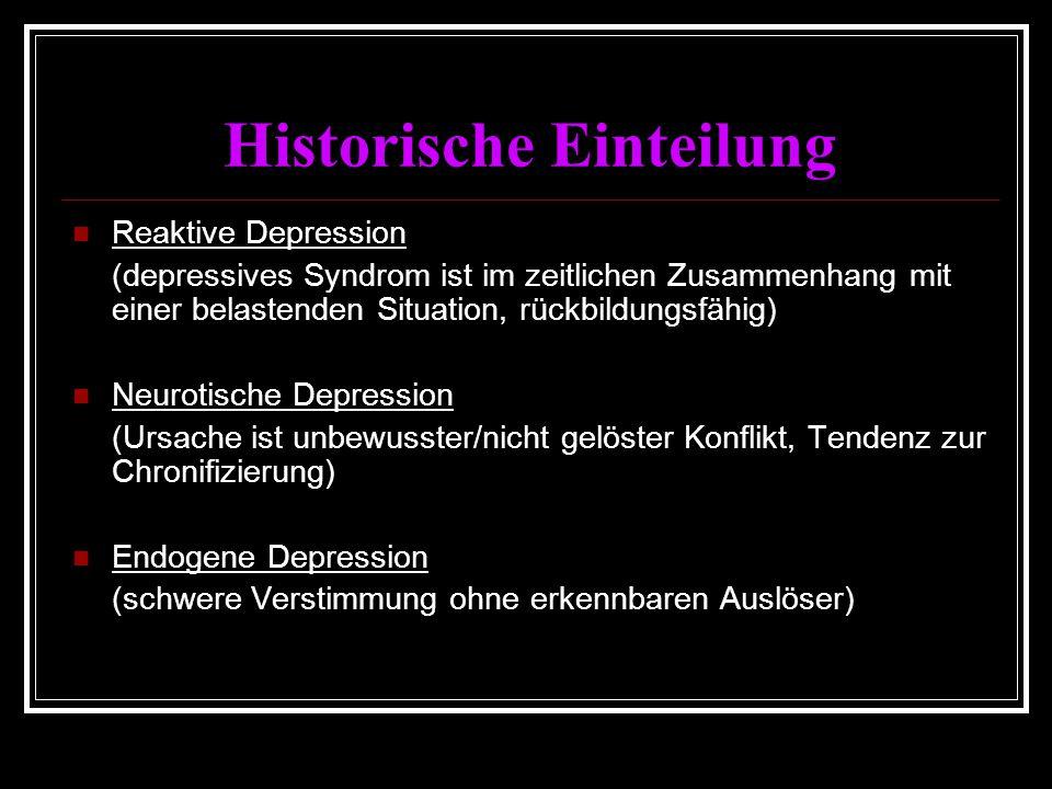 Historische Einteilung Reaktive Depression (depressives Syndrom ist im zeitlichen Zusammenhang mit einer belastenden Situation, rückbildungsfähig) Neurotische Depression (Ursache ist unbewusster/nicht gelöster Konflikt, Tendenz zur Chronifizierung) Endogene Depression (schwere Verstimmung ohne erkennbaren Auslöser)