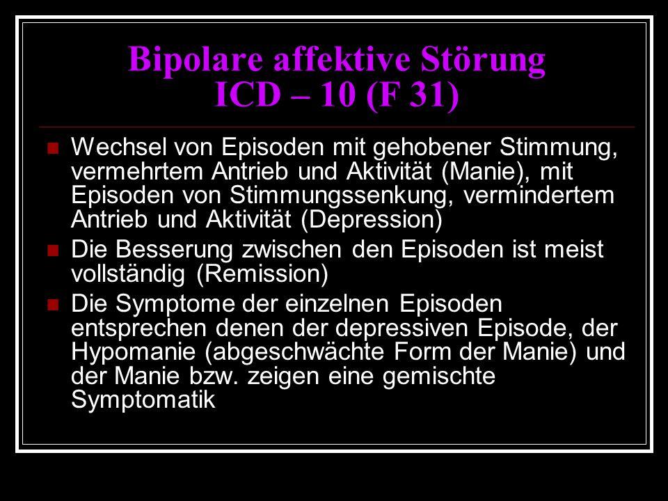 Bipolare affektive Störung ICD – 10 (F 31) Wechsel von Episoden mit gehobener Stimmung, vermehrtem Antrieb und Aktivität (Manie), mit Episoden von Stimmungssenkung, vermindertem Antrieb und Aktivität (Depression) Die Besserung zwischen den Episoden ist meist vollständig (Remission) Die Symptome der einzelnen Episoden entsprechen denen der depressiven Episode, der Hypomanie (abgeschwächte Form der Manie) und der Manie bzw.