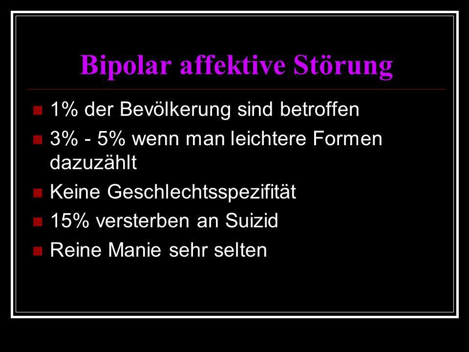 Bipolar affektive Störung 1% der Bevölkerung sind betroffen 3% - 5% wenn man leichtere Formen dazuzählt Keine Geschlechtsspezifität 15% versterben an Suizid Reine Manie sehr selten