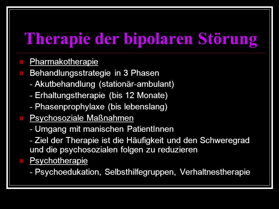 Therapie der bipolaren Störung Pharmakotherapie Behandlungsstrategie in 3 Phasen - Akutbehandlung (stationär-ambulant) - Erhaltungstherapie (bis 12 Monate) - Phasenprophylaxe (bis lebenslang) Psychosoziale Maßnahmen - Umgang mit manischen PatientInnen - Ziel der Therapie ist die Häufigkeit und den Schweregrad und die psychosozialen folgen zu reduzieren Psychotherapie - Psychoedukation, Selbsthilfegruppen, Verhaltnestherapie