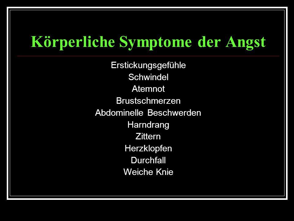 Körperliche Symptome der Angst Erstickungsgefühle Schwindel Atemnot Brustschmerzen Abdominelle Beschwerden Harndrang Zittern Herzklopfen Durchfall Weiche Knie