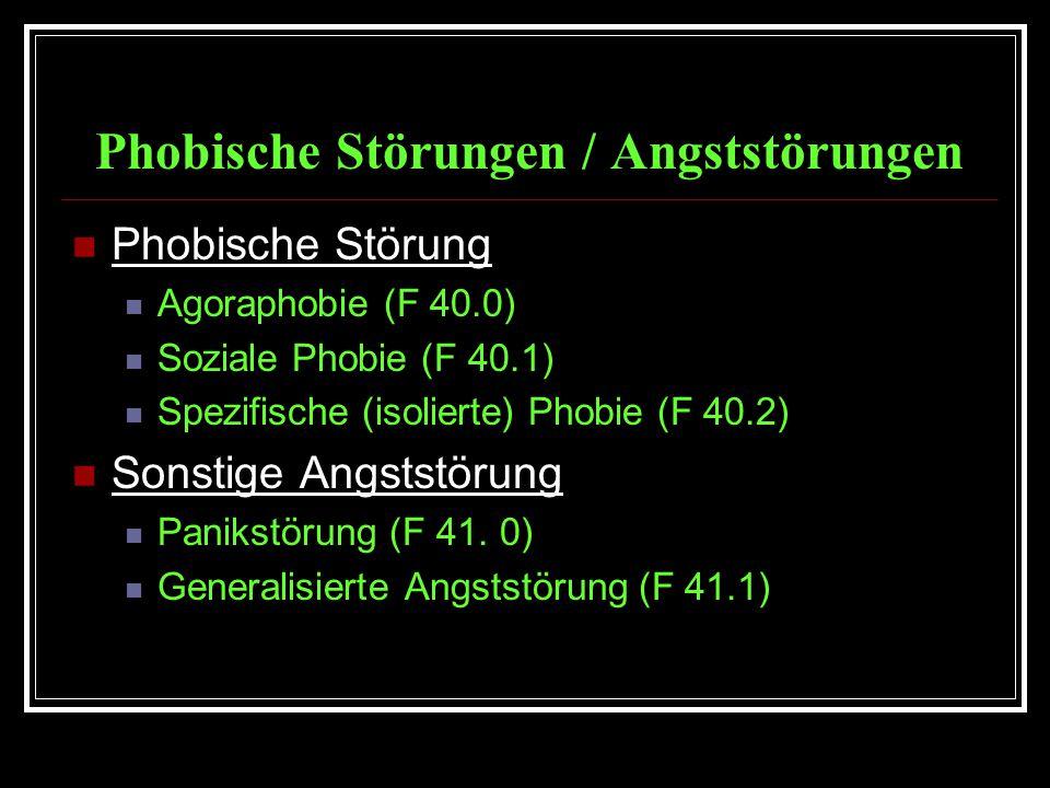 Phobische Störungen / Angststörungen Phobische Störung Agoraphobie (F 40.0) Soziale Phobie (F 40.1) Spezifische (isolierte) Phobie (F 40.2) Sonstige Angststörung Panikstörung (F 41.