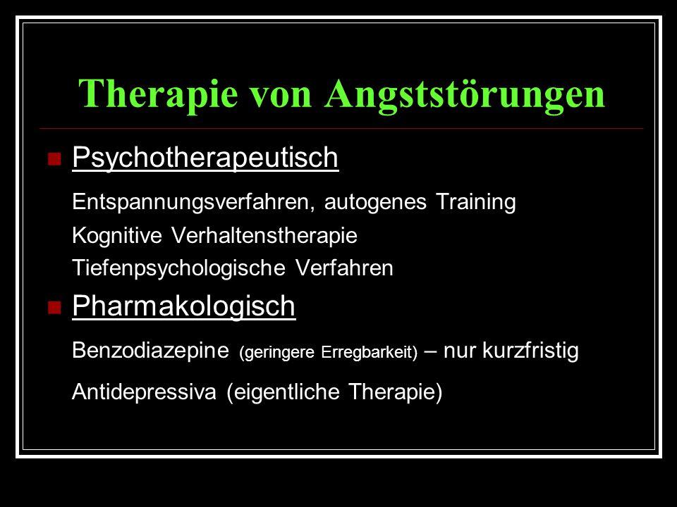 Therapie von Angststörungen Psychotherapeutisch Entspannungsverfahren, autogenes Training Kognitive Verhaltenstherapie Tiefenpsychologische Verfahren Pharmakologisch Benzodiazepine (geringere Erregbarkeit) – nur kurzfristig Antidepressiva (eigentliche Therapie)