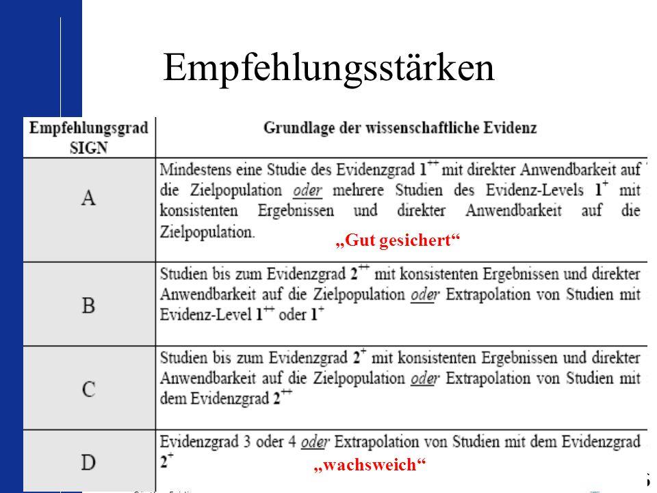 """© IhF/ Baum/ August 2006 – Modifikation Oktober 2010 für PRACTICA Bad Orb durch Günther Egidi 16 Empfehlungsstärken """"Gut gesichert"""" """"wachsweich"""""""