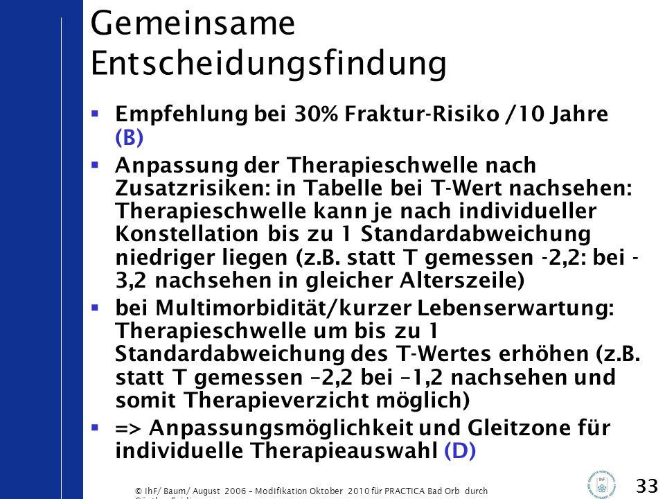 © IhF/ Baum/ August 2006 – Modifikation Oktober 2010 für PRACTICA Bad Orb durch Günther Egidi 33 Gemeinsame Entscheidungsfindung  Empfehlung bei 30%