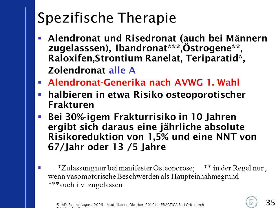 © IhF/ Baum/ August 2006 – Modifikation Oktober 2010 für PRACTICA Bad Orb durch Günther Egidi 35 Spezifische Therapie  Alendronat und Risedronat (auc