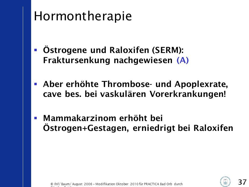 © IhF/ Baum/ August 2006 – Modifikation Oktober 2010 für PRACTICA Bad Orb durch Günther Egidi 37 Hormontherapie  Östrogene und Raloxifen (SERM): Frak