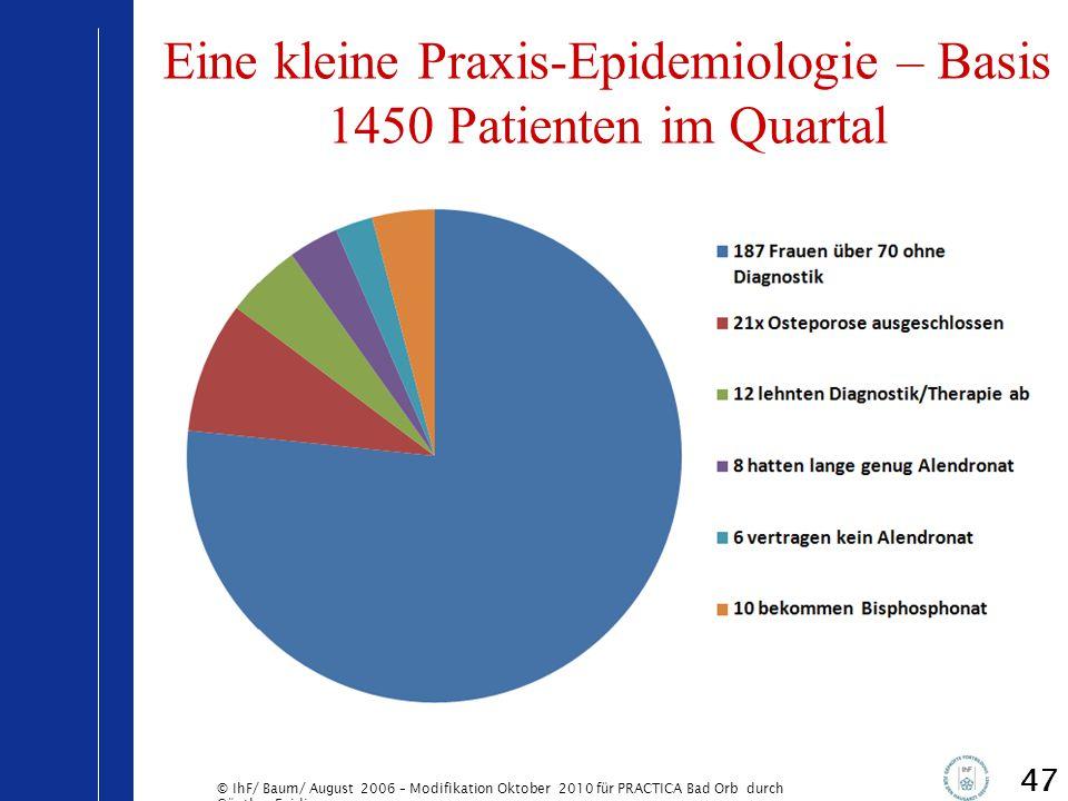 © IhF/ Baum/ August 2006 – Modifikation Oktober 2010 für PRACTICA Bad Orb durch Günther Egidi 47 Eine kleine Praxis-Epidemiologie – Basis 1450 Patient