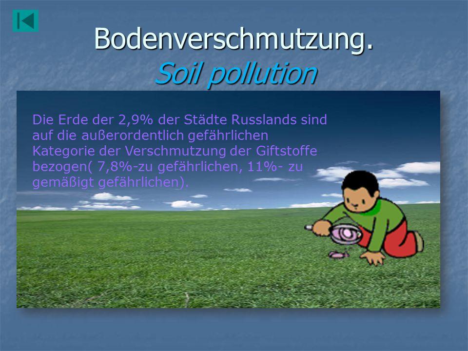 Bodenverschmutzung. Soil pollution Die Erde der 2,9% der Städte Russlands sind auf die außerordentlich gefährlichen Kategorie der Verschmutzung der Gi
