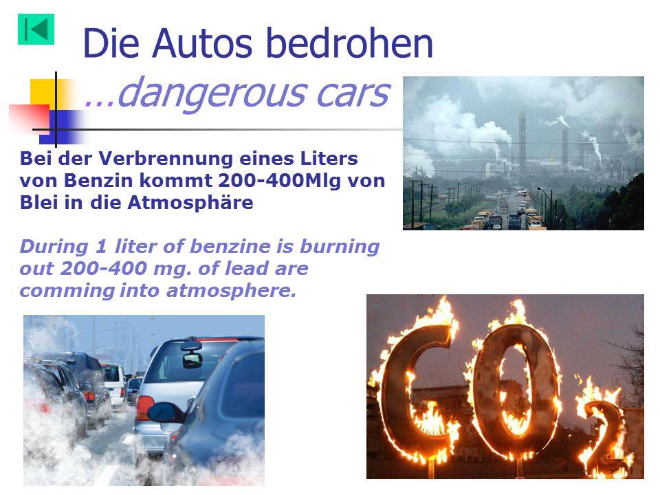 Bei der Verbrennung eines Liters von Benzin kommt 200-400Mlg von Blei in die Atmosphäre During 1 liter of benzine is burning out 200-400 mg. of lead a