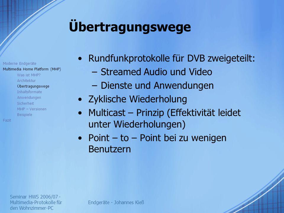 Seminar HWS 2006/07 - Multimedia-Protokolle für den Wohnzimmer-PC Endgeräte - Johannes Kieß Übertragungswege Rundfunkprotokolle für DVB zweigeteilt: –Streamed Audio und Video –Dienste und Anwendungen Zyklische Wiederholung Multicast – Prinzip (Effektivität leidet unter Wiederholungen) Point – to – Point bei zu wenigen Benutzern Moderne Endgeräte Multimedia Home Platform (MHP) Was ist MHP.