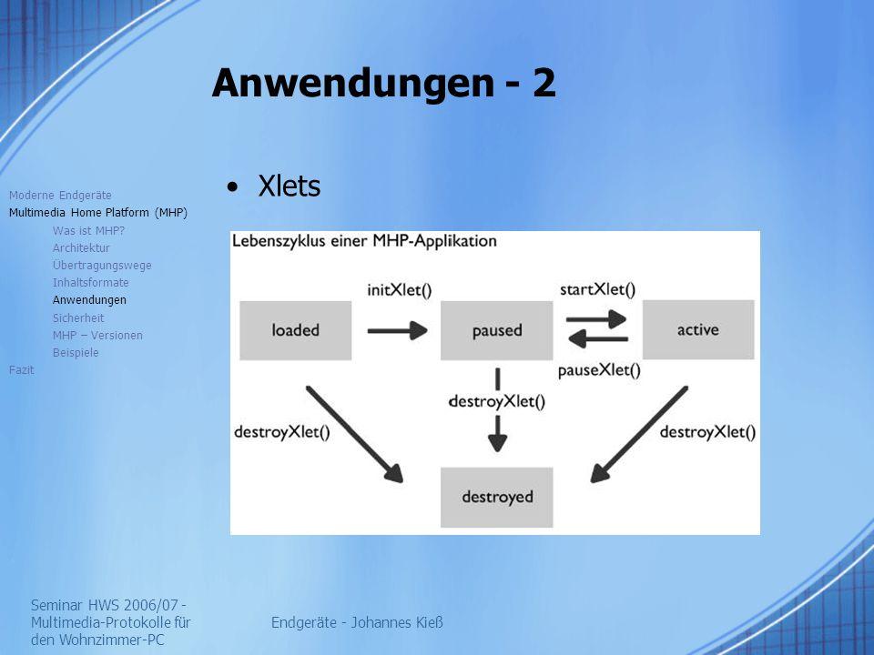 Seminar HWS 2006/07 - Multimedia-Protokolle für den Wohnzimmer-PC Endgeräte - Johannes Kieß Anwendungen - 2 Xlets Moderne Endgeräte Multimedia Home Platform (MHP) Was ist MHP.