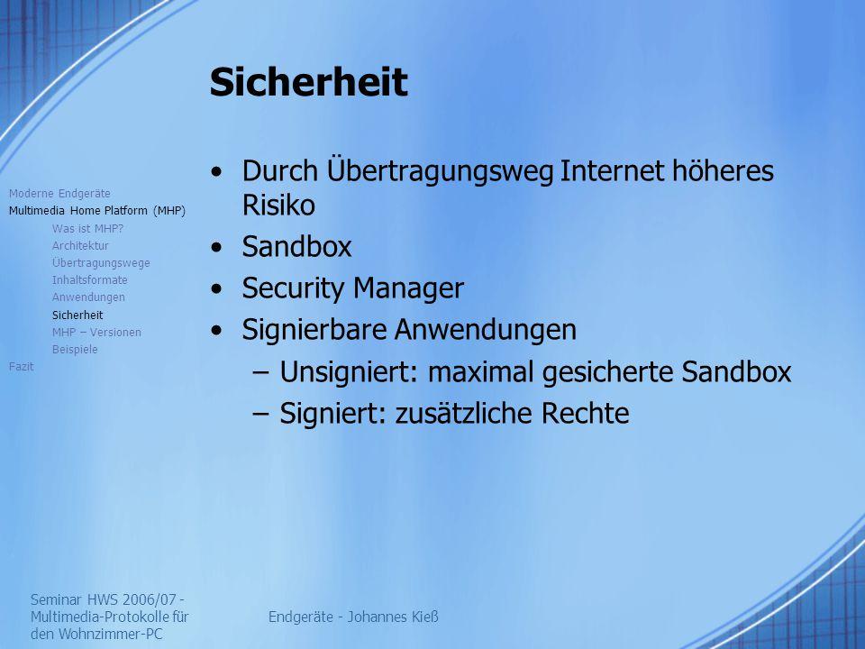 Seminar HWS 2006/07 - Multimedia-Protokolle für den Wohnzimmer-PC Endgeräte - Johannes Kieß Sicherheit Durch Übertragungsweg Internet höheres Risiko S