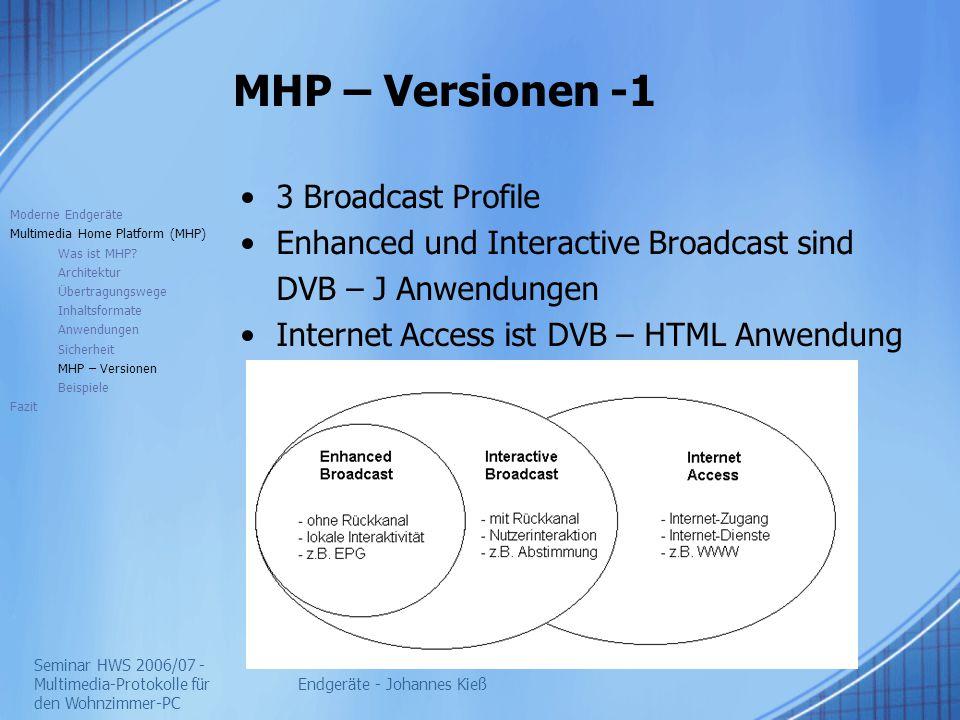 Seminar HWS 2006/07 - Multimedia-Protokolle für den Wohnzimmer-PC Endgeräte - Johannes Kieß MHP – Versionen -1 3 Broadcast Profile Enhanced und Interactive Broadcast sind DVB – J Anwendungen Internet Access ist DVB – HTML Anwendung Moderne Endgeräte Multimedia Home Platform (MHP) Was ist MHP.
