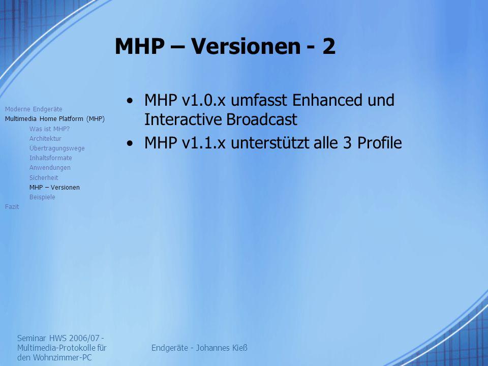 Seminar HWS 2006/07 - Multimedia-Protokolle für den Wohnzimmer-PC Endgeräte - Johannes Kieß MHP – Versionen - 2 MHP v1.0.x umfasst Enhanced und Interactive Broadcast MHP v1.1.x unterstützt alle 3 Profile Moderne Endgeräte Multimedia Home Platform (MHP) Was ist MHP.