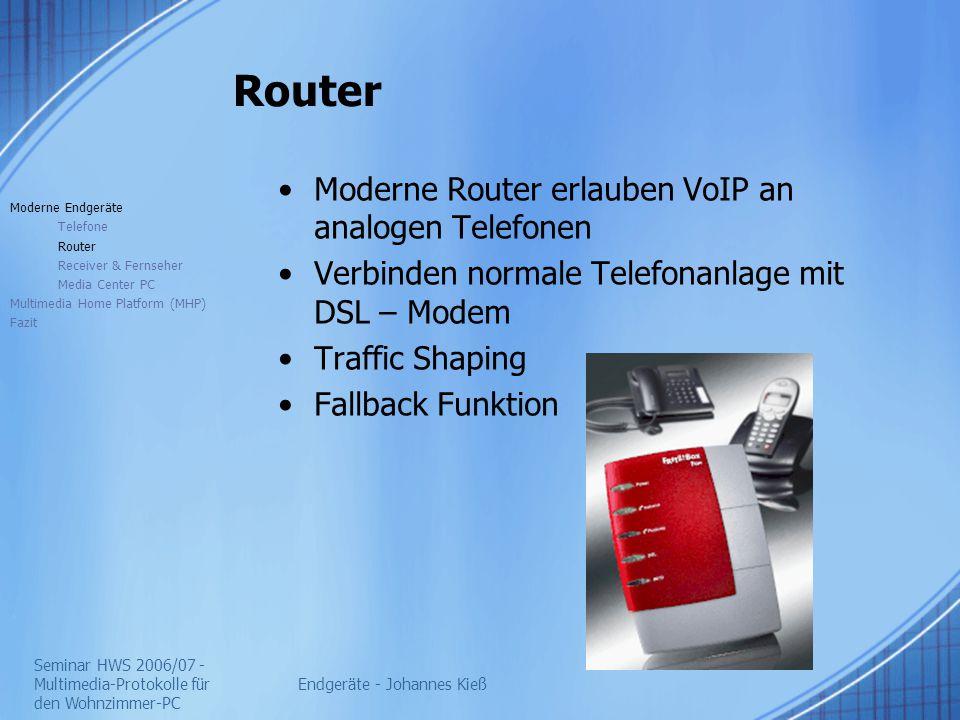 Seminar HWS 2006/07 - Multimedia-Protokolle für den Wohnzimmer-PC Endgeräte - Johannes Kieß Router Moderne Router erlauben VoIP an analogen Telefonen