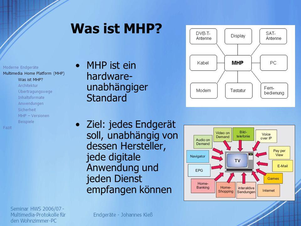 Seminar HWS 2006/07 - Multimedia-Protokolle für den Wohnzimmer-PC Endgeräte - Johannes Kieß Architektur Moderne Endgeräte Multimedia Home Platform (MHP) Was ist MHP.