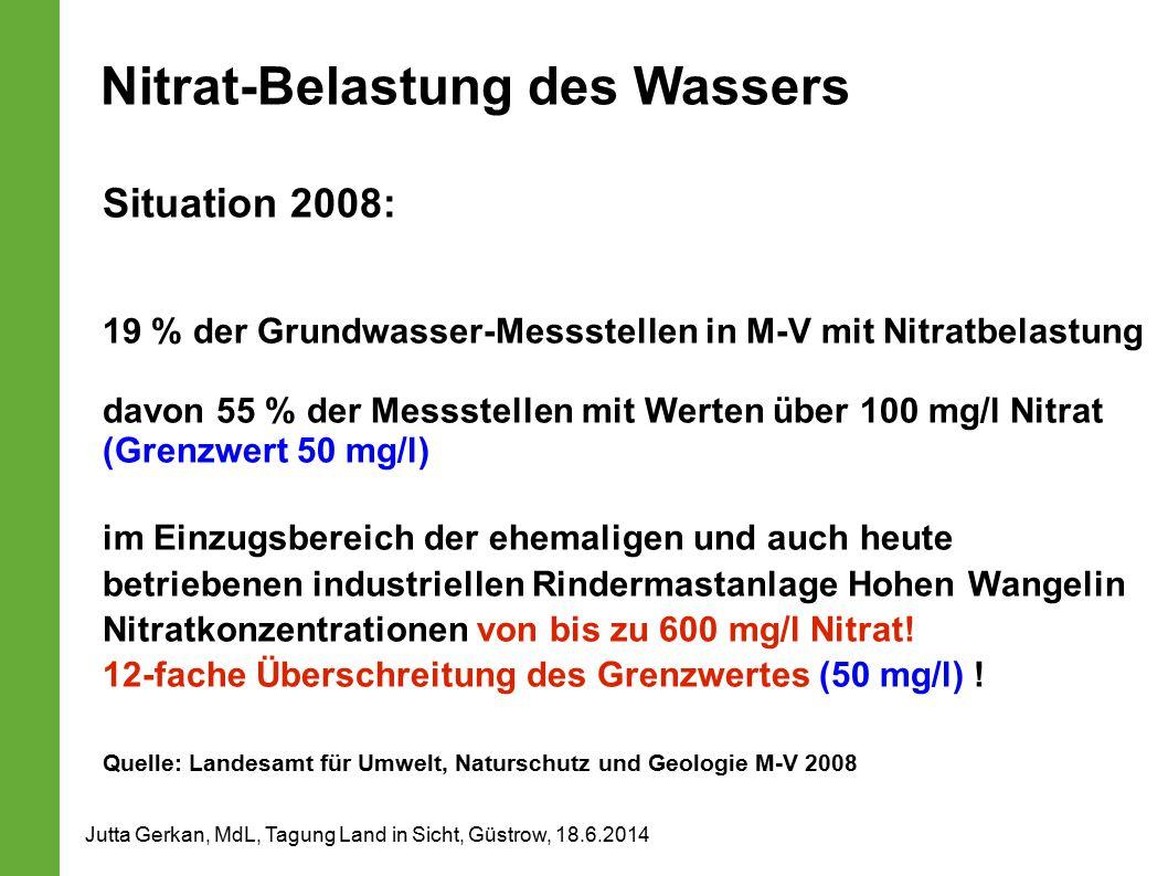 Nitrat-Belastung des Wassers Situation 2008: 19 % der Grundwasser-Messstellen in M-V mit Nitratbelastung davon 55 % der Messstellen mit Werten über 100 mg/l Nitrat (Grenzwert 50 mg/l) im Einzugsbereich der ehemaligen und auch heute betriebenen industriellen Rindermastanlage Hohen Wangelin Nitratkonzentrationen von bis zu 600 mg/l Nitrat.