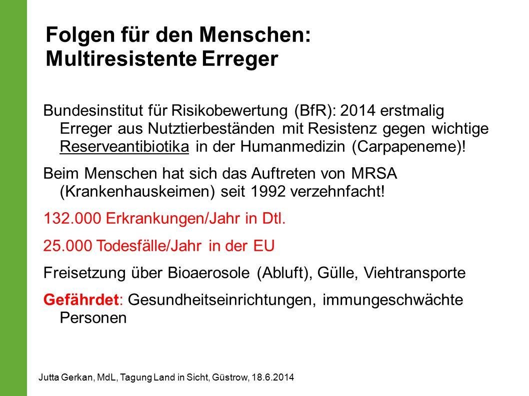 Folgen für den Menschen: Multiresistente Erreger Bundesinstitut für Risikobewertung (BfR): 2014 erstmalig Erreger aus Nutztierbeständen mit Resistenz gegen wichtige Reserveantibiotika in der Humanmedizin (Carpapeneme).