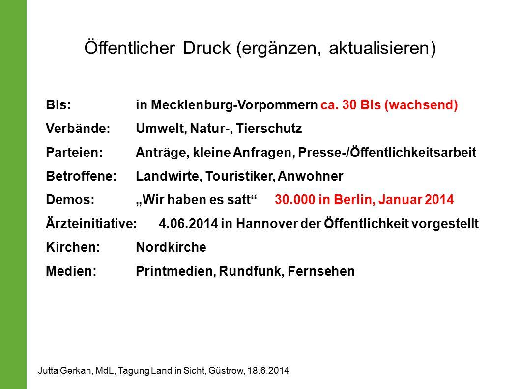 Öffentlicher Druck (ergänzen, aktualisieren) BIs:in Mecklenburg-Vorpommern ca. 30 BIs (wachsend) Verbände:Umwelt, Natur-, Tierschutz Parteien:Anträge,