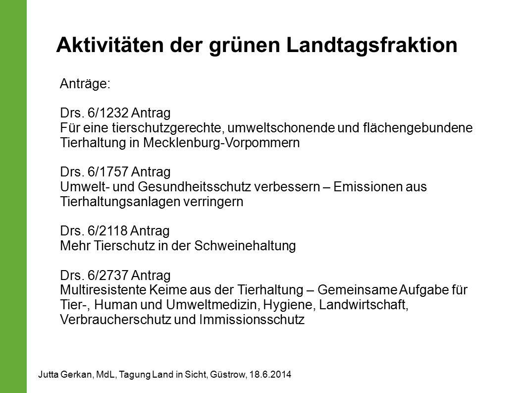 Aktivitäten der grünen Landtagsfraktion Anträge: Drs.