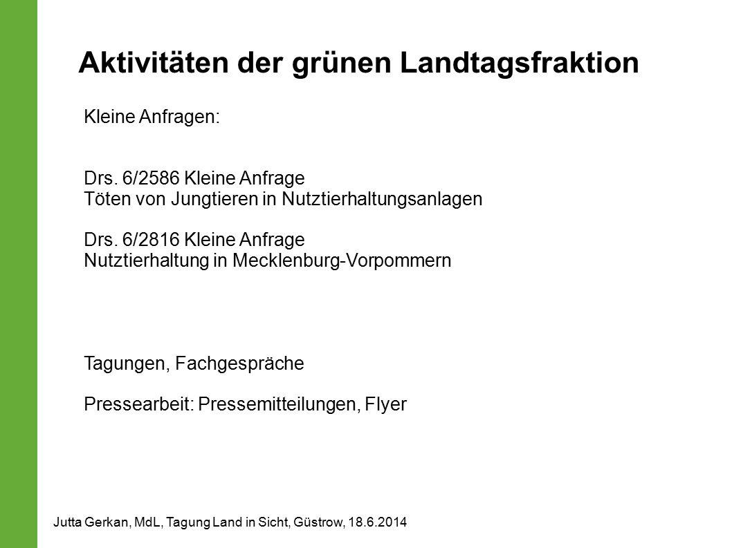 Aktivitäten der grünen Landtagsfraktion Kleine Anfragen: Drs. 6/2586 Kleine Anfrage Töten von Jungtieren in Nutztierhaltungsanlagen Drs. 6/2816 Kleine