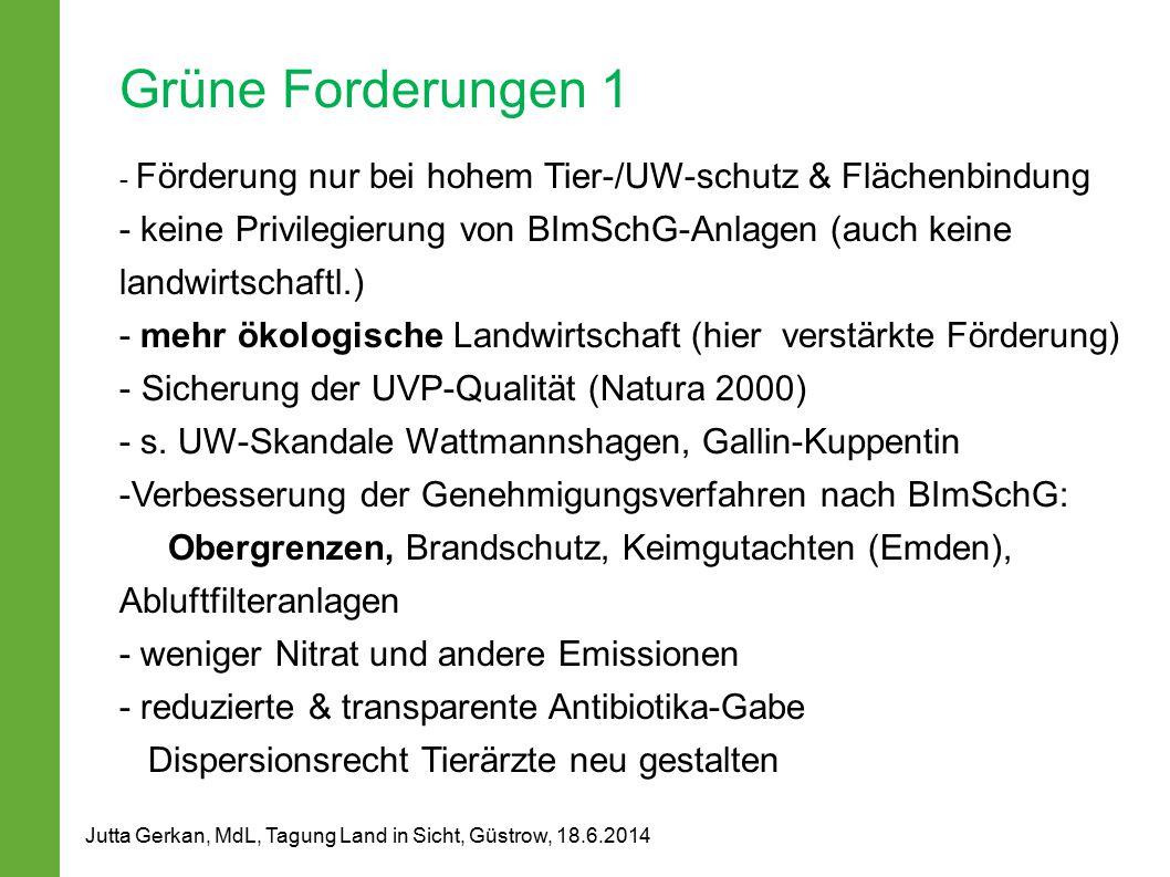 Grüne Forderungen 1 - Förderung nur bei hohem Tier-/UW-schutz & Flächenbindung - keine Privilegierung von BImSchG-Anlagen (auch keine landwirtschaftl.) - mehr ökologische Landwirtschaft (hier verstärkte Förderung) - Sicherung der UVP-Qualität (Natura 2000) - s.