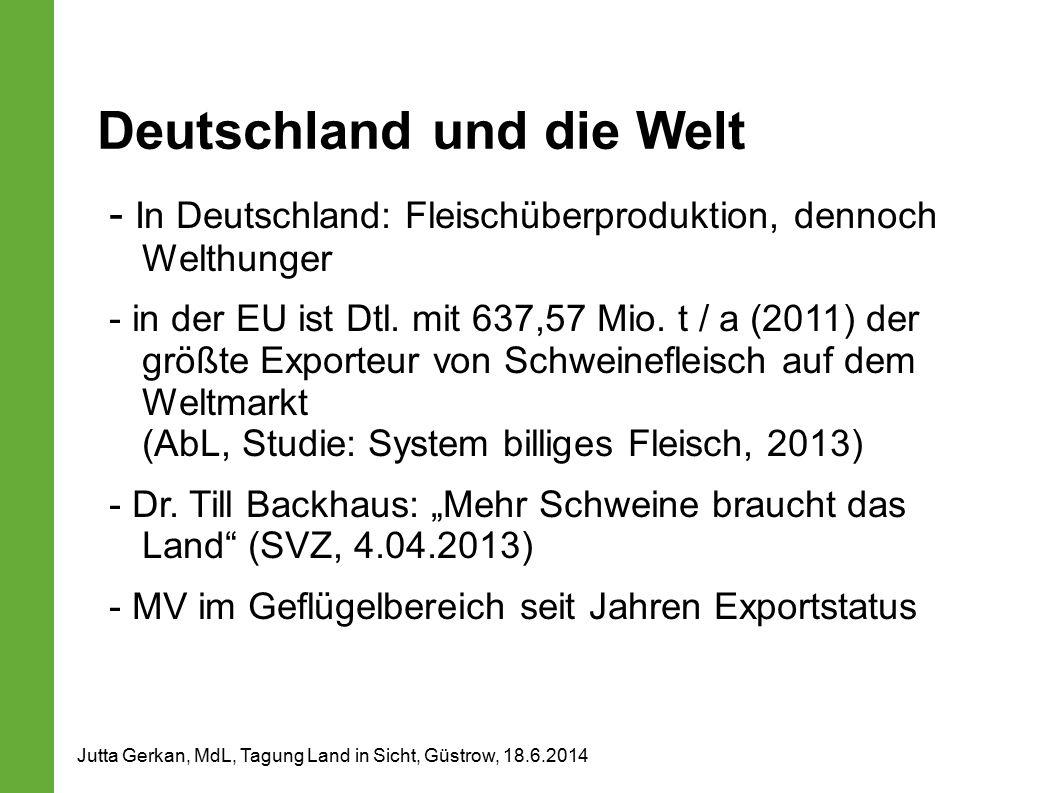 Deutschland und die Welt - In Deutschland: Fleischüberproduktion, dennoch Welthunger - in der EU ist Dtl. mit 637,57 Mio. t / a (2011) der größte Expo