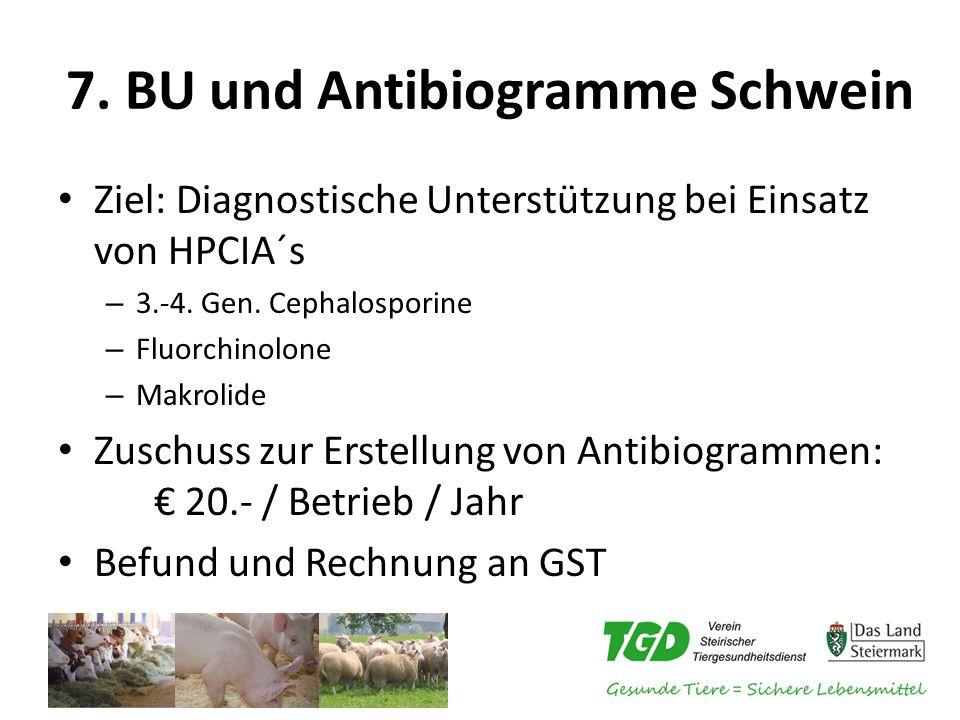 7. BU und Antibiogramme Schwein Ziel: Diagnostische Unterstützung bei Einsatz von HPCIA´s – 3.-4. Gen. Cephalosporine – Fluorchinolone – Makrolide Zus