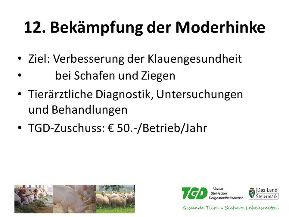 12. Bekämpfung der Moderhinke Ziel: Verbesserung der Klauengesundheit bei Schafen und Ziegen Tierärztliche Diagnostik, Untersuchungen und Behandlungen